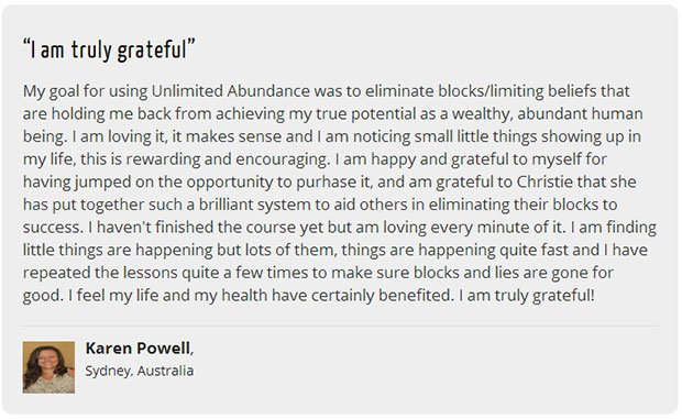 Testimonial for unlimited abundance