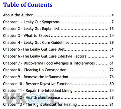 Tablecontent of leaky gut cure tablecontent