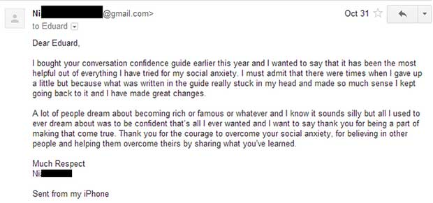 Testimonial for conversation confidence guide testimonial