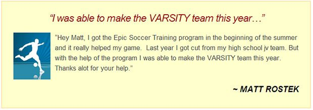 Testimonial for epic soccer training program