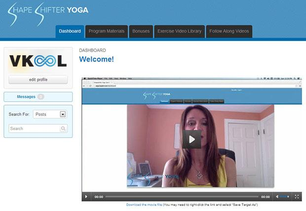 Shapeshifter yoga membership site dashboard