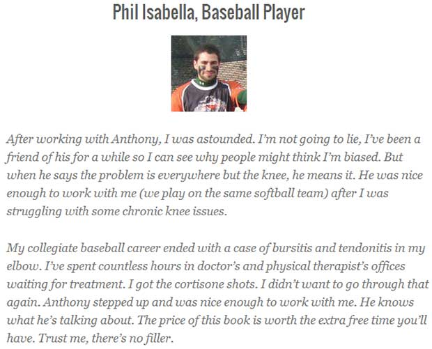 Testimonial for Anthony Mychal's an athlete's guide to chronic knee pain
