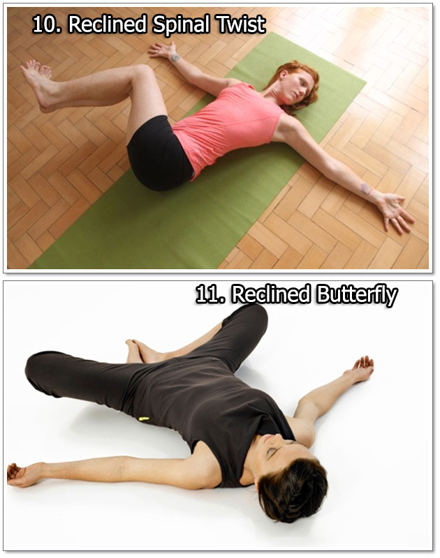Reclined Spinal Twist & Reclined Butterfly - Yoga Exercises