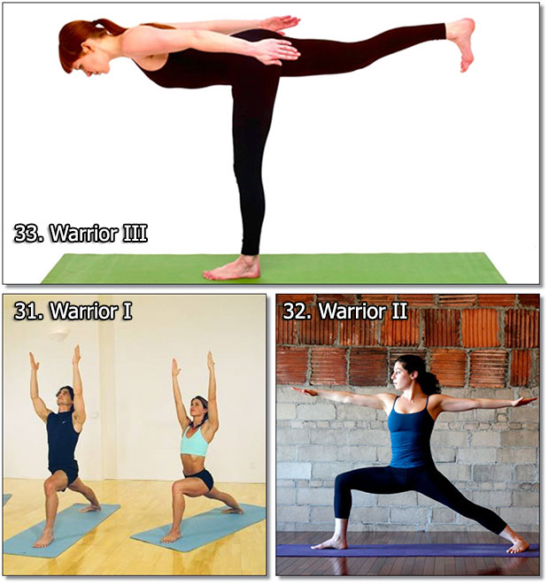 Warrior I, II, III - Yoga Exercises