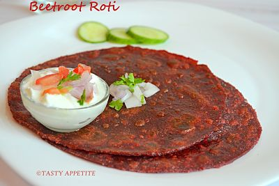 healthy snack ideas for kids and adults with beetroot & sesame roti