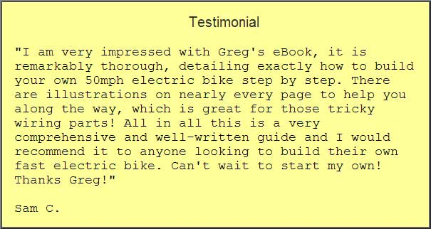 Testimonial for build a 50mph electric bike ebook