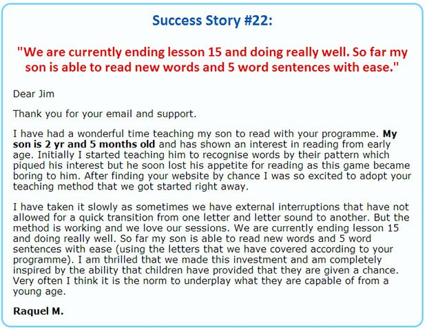 Testimonial children learning reading program
