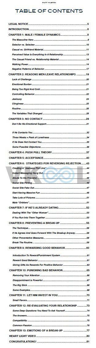 get him back forever table of contents