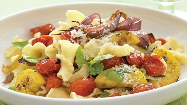 cavatappi with bacon and summer vegetables download