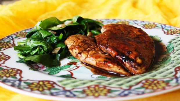 low fat recipes-main course chicken with spinach