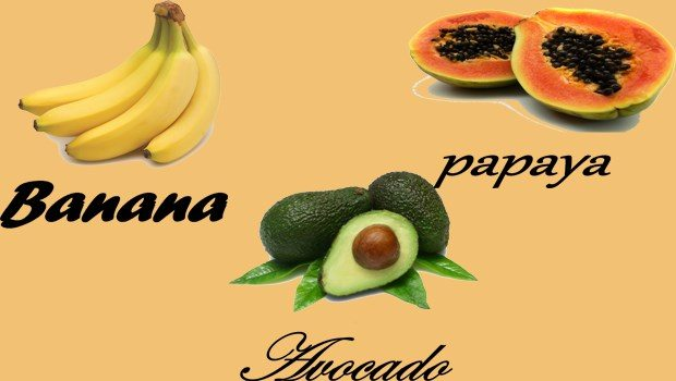 avocado face mask-banana, papaya avocado mask