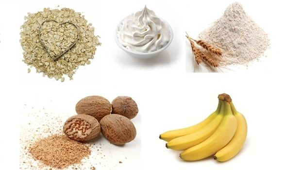 banana face mask - oatmeal, cream, wheat flour, nutmeg banana face mask