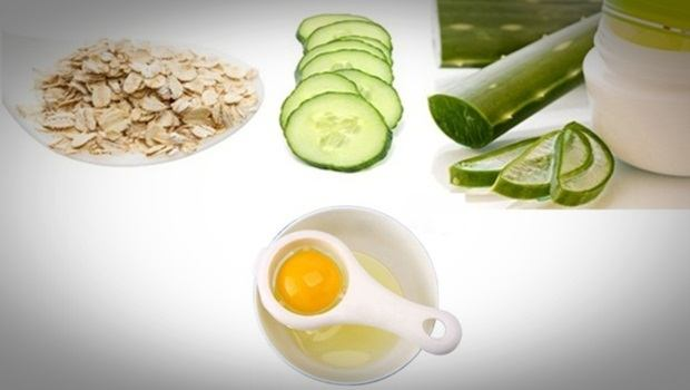 aloe vera face mask - aloe vera, egg white, oatmeal and cucumber