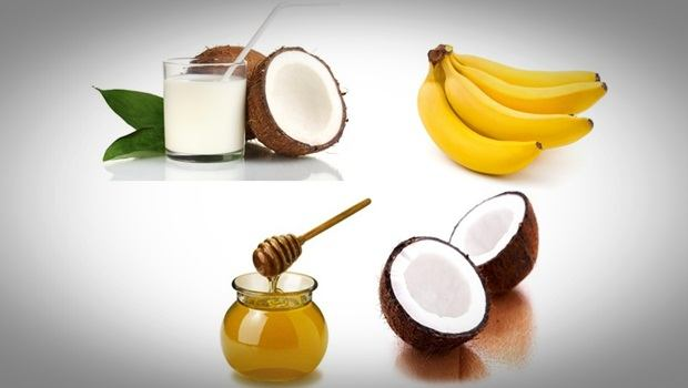 banana hair mask - coconut milk, banana, coconut oil and honey