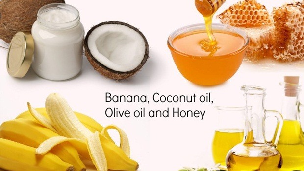 banana hair mask - coconut oil, olive oil, banana and honey