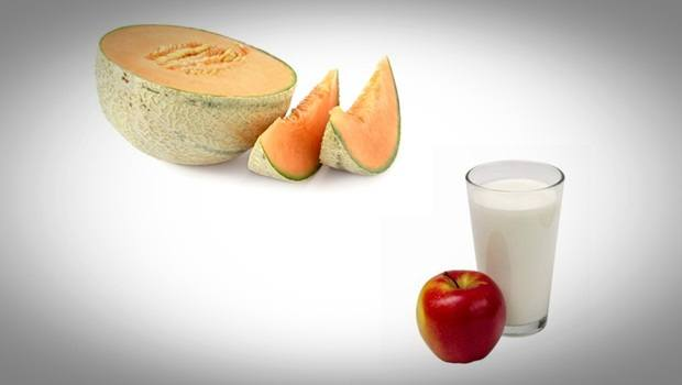home remedies for double chin - melon with apple and milk