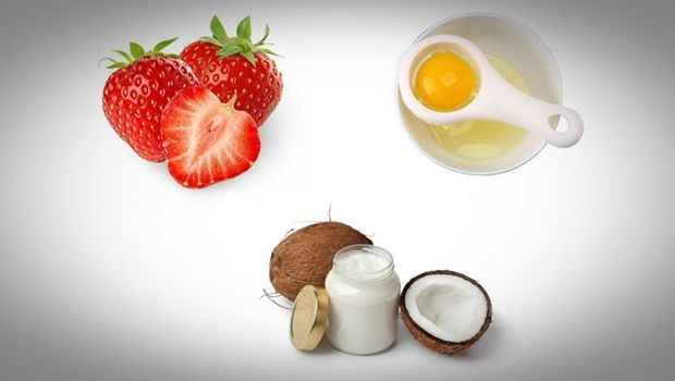 anti aging face mask - egg white, strawberry and coconut oil