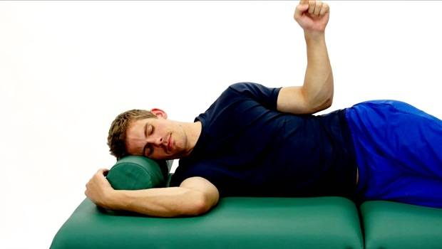 physical therapy exercises for shoulder - side-lying rotation