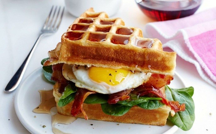 easy brunch ideas - bacon and egg waffle sandwich