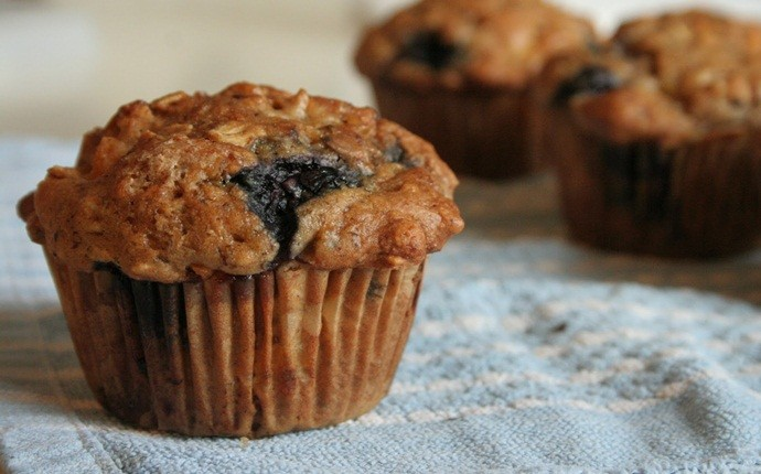 peanut free snacks - blueberry and ginger muffins