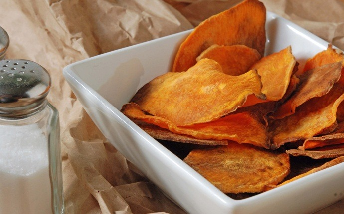 sweet potato recipes - roasted sweet potato chips and ranch dip