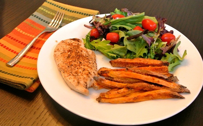 sweet potato recipes - roasted sweet potato with chicken salad