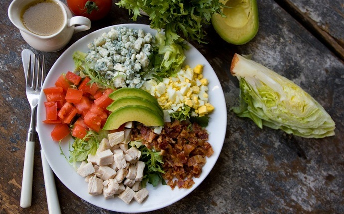 paleo salad recipes - tangy poppyseed dressing with strawberry cobb salad