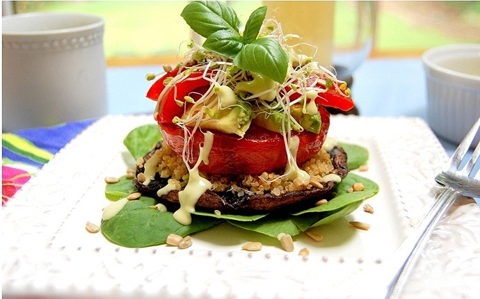 healthy zucchini recipes - veggie stack with basil