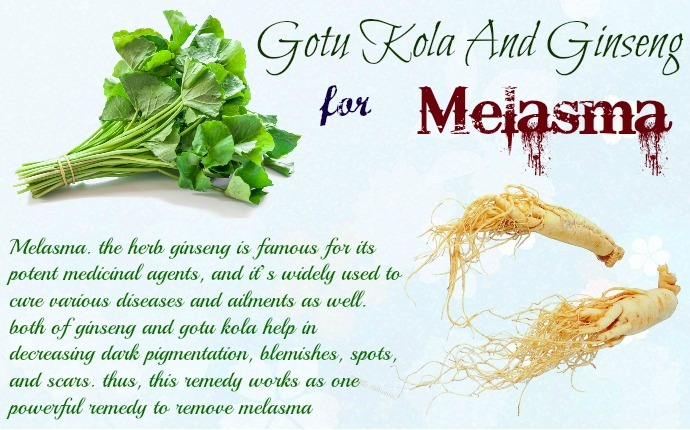 home remedies for melasma - gotu kola and ginseng