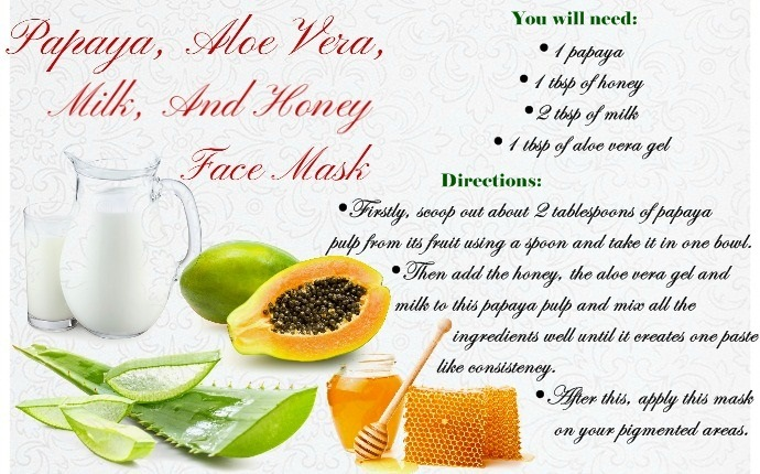 home remedies for pigmentation marks - papaya, aloe vera, milk, and honey face mask