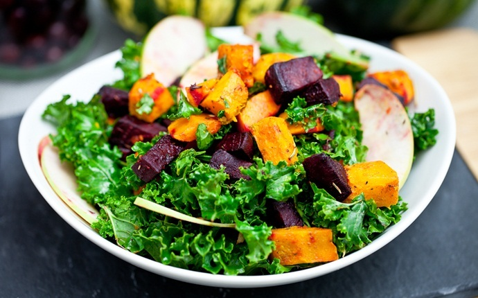 healthy squash recipes - balsamic butternut squash with kale