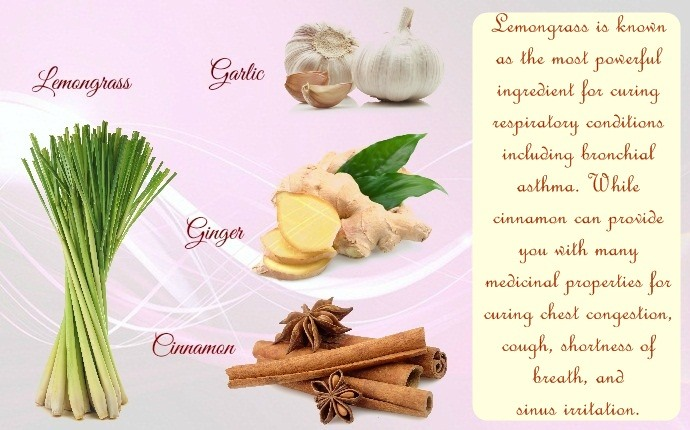 ginger for asthma - ginger, garlic tea, cinnamon, and lemongrass