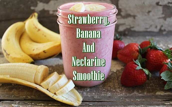 frozen fruit smoothies - strawberry, banana and nectarine smoothie